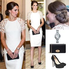 "24 April 2014  It was the first time Kate wore Lela Rose's design. The ivory peplum dress featured a round neckline, circle lace short sleeves, circle lace peplum panel along waist, and a back center slit at skirt with concealed zipper closure.  She teamed the look with a £495 Mulberry black Bayswater clutch me a pair of Jimmy Choo ""Cosmic"" suede pumps.  She had her hair up in an elegant chignon and wore the diamond bracelet and earrings -wedding present from Prince Charles- and the £4,850…"