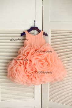 Peach Pink Organza Ruffle Ball Gown Flower Girl Dress Children Toddler Dress for Wedding Junior Bridesmaid Dress from knothouses Baby Girl Party Dresses, Wedding Flower Girl Dresses, Little Girl Dresses, Baby Dress, Girls Dresses, Gown Wedding, Flower Girls, Kids Frocks Design, Toddler Dress