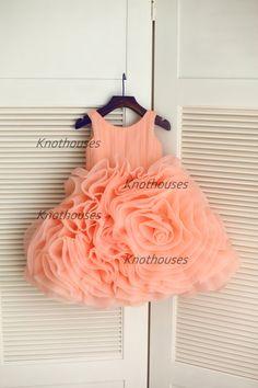 Peach Pink Organza Ruffle Ball Gown Flower Girl Dress Children Toddler Dress for Wedding Junior Bridesmaid Dress