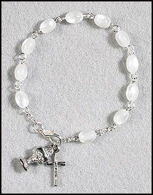 "Amazon.com: White Chalice Charm & Imitation Mother of Pearl Rosary Bracelet Acrylic 6x8 Mm Bead -- 7"" L: Jewelry"