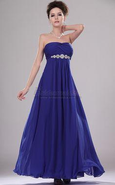 Long Strapless Chiffon Royal Blue Bridesmaid Dress in Blue Chiffon BD-CA451 - BridesmaidCA.com