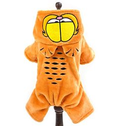 SMALLLEE_LUCKY_STORE Cartoon Cat Warm Flannel Fleece Small Dog Pajamas Hooded Halloween Coat, Large, Orange *** You can get additional details at the image link. #DogSweaters