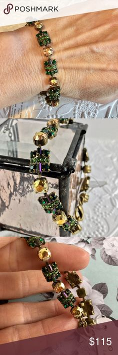 Beautiful Sorrelli bracelet Beautiful Sorrelli bracelet with beautiful crystals in shades of green and gold with purple accents. Absolutely beautiful....Sorelli always is! Never worn, NWT Sorrelli Jewelry Bracelets