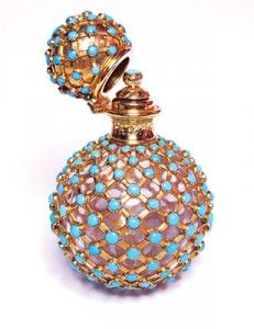 19th century crystal scent bottle with gold turquoise mount