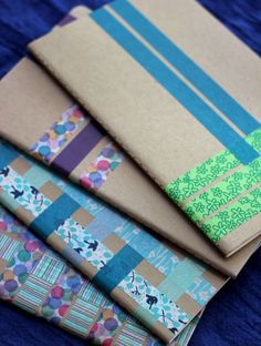 Woven Washi Tape Notebooks A 10 minute creative project for. Informations About DIY Woven Washi Ta Diy Craft Projects, Crafts For Kids, Arts And Crafts, Diy Crafts, Washi Tape Notebook, Diy Notebook, Fun And Easy Diys, Diy Paper, Paper Crafts