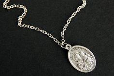 Our Lady of Czestochowa Medal Necklace. Jade Jewelry, Charm Jewelry, Glass Jewelry, St Christopher Necklace, Saint Christopher, Guardian Angel Necklace, Catholic Jewelry, Gold Chains For Men, Dreamland Jewelry