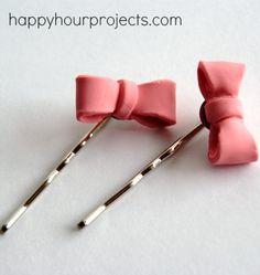 DIY Hair Bow Pins.