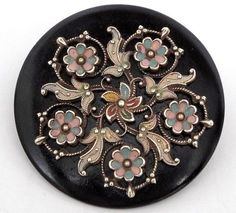 """ANTIQUE VINTAGE CELLULOID GAY 90'S STYLE BUTTON 1.40"""" HAND PAINTED BRASS #CELLULOID"""