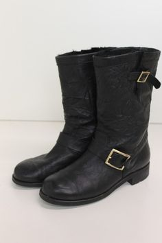 Authentic Jimmy Choo Black Leather Short Motorcycle Boots with Fur Lining Sz 39 | eBay   Awesome for the coming Fall and winter