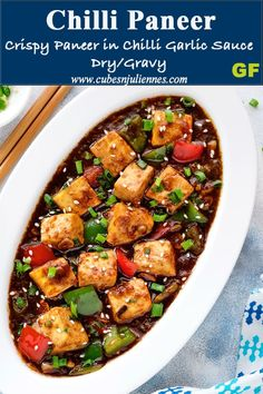 Chilli Paneer (Dry and Gravy Recipe) - Cubes N Juliennes- Chilli Paneer is a lip smacking restaurant style spicy Indo Chinese recipe of paneer sautéed with chillies, peppers and sauces. Serve it as a paneer starters making version or as a Vegetable Gravy Recipes, Chilli Recipes, Veg Recipes, Kitchen Recipes, Indian Food Recipes, Cooking Recipes, Recipies, Vegetarian Chinese Recipes, Indo Chinese Recipes
