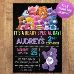 Care Bear Birthday Party Invitation FREE THANK by SarconeDesigns