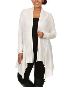 Another great find on #zulily! White Crochet Sidetail Cardigan - Plus by Blue Night #zulilyfinds