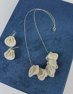 Ceramic Jewellery Set  Porcelain Flowers and Sterling Silver - Necklace with matching earrings by TaikaEarth,