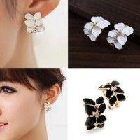 Women Gardenia Flower Crystal Ear Studs Rhinestone Earrings