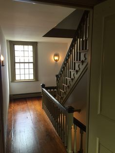 An interior stair hall at the Cahoone-Yates House (ca. 1763) at 27-29 Green Street.