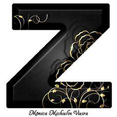 Alfabeto Preto Com Rosas Douradas Png Com Imagens Rosas