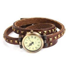 Yesurprise Mosaic Rivets Fashioable Stylish Roman Long Leather Strap Quartz Woman Watch Brown YesurpriseWeave. $12.06