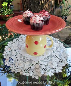 Polka Dot Cake. Adorable and a great way to repurpose old items.