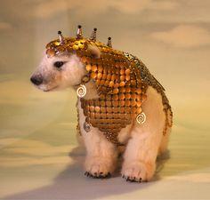 Alpaca Needle Felted Steampunk Panserbjorne Armored Ice Bear with Whiting & Davis Armor OOAK Artist Bear $1800