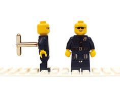 Police / Cop cufflinks. Cufflinks made with LEGO(R) bricks.    Cuff links Cufflink Wedding gift by Cufflinkhero on Etsy https://www.etsy.com/listing/160213917/police-cop-cufflinks-cufflinks-made-with