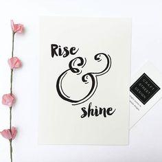 - Design - Details Hang this beautiful 'Rise & Shine'' inspirational print… neutral color palette Calligraphy Doodles, Calligraphy Quotes, Calligraphy Letters, Modern Calligraphy, Hand Lettering Quotes, Drawing Quotes, Typography Inspiration, Design Inspiration, Brush Lettering