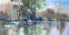 Bend In The River by Robert W. Cook ~ watercolor landscape