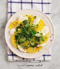 Heirloom caprese salad: http://www.stylemepretty.com/living/2014/11/03/20-perfect-for-entertaining-recipes/