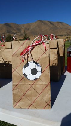 Soccer goody bag, Soccer snack bags for kids, DIY soccer crafts