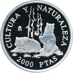 2000 Pesetas 1996 Cultura y Naturaleza. Osos.