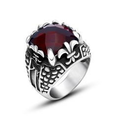 BFQ Nice Beautiful Cool Red Black Zircon Rings For Men Vintage Stainless Steel Rings Punk Men Jewelry anel masculino anillos