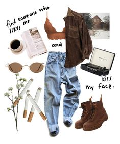 """lights turned on"" by brazeaujuliana ❤ liked on Polyvore featuring Levi's, Dr. Martens and Wyld Home"