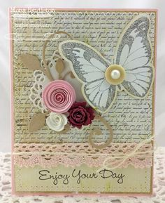 Inspired by Butterflies; More Essential Sentiments; Inspired by Butterflies Die-namics; Mini Rolled Roses Die-namics; Mini Royal Roses Die-namics; Leaf-Filled Flourish Die-namics; Decorative Doily Duo Die-namics - Mona Pendleton