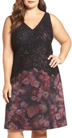 Plus Size Mixed Media Floral Fit & Flare Dress