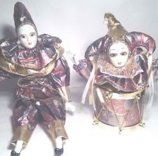 jester porcelian dolls | Porcelain Jester Clown Doll and matching Doll in a Drum Music Box ...