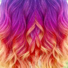 Vivids hair. Sunset hair created with #pravana #vivids