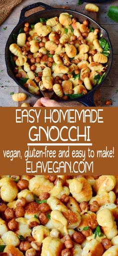 This amazing gluten-free vegan gnocchi recipe is plant-based (egg-free), protein-rich (made with chickpea flour) and contains only 3 ingredients (salt and water not counted). Easy to make and healthy homemade recipe without wheat! Vegan Gnocchi Recipe, Gnocchi Recipes, Vegan Pasta, Easy Healthy Recipes, Veggie Recipes, Mantu Recipe, Italian Dinner Recipes, Scallop Recipes, Vegan Comfort Food
