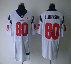 Nike Texans  80 Andre Johnson White With 10th Patch Men s Stitched NFL  Elite Jersey Mike cd7424b98