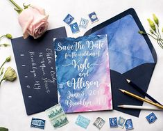 Always a fan of anything watercolor 😍 How fun are the colors we chose for this save the date option? 💜💙💖 (Photo: @photopinknyc)