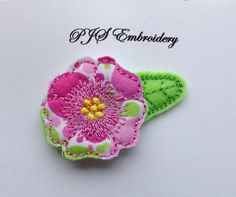 Felt and Fabric Flower in Pink and Green Snap by PJSEMBROIDERY, $3.00
