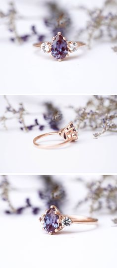 What Type of Engagement Ring Should I Buy? Purple Engagement Rings, Alexandrite Engagement Ring, Alexandrite Ring, Leaf Engagement Ring, Alternative Engagement Rings, Three Stone Engagement Rings, Perfect Engagement Ring, Three Stone Rings, Wedding Ring Styles