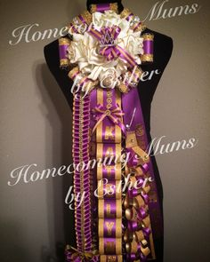 Elegant purple and Gold Mum Senior mum   https://www.facebook.com/Homecoming-Mums-by-Esther-273602849493591/