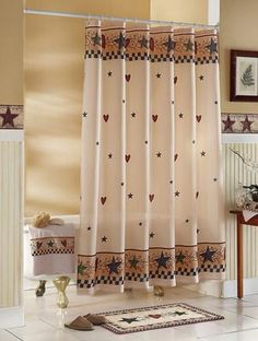 Country Primitive Stars Hearts Shower Curtain