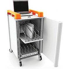 10 Bay Vertical Laptop Charging Trolley
