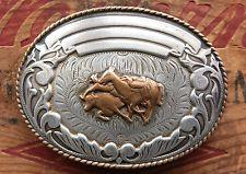 Vintage Comstock Sterling Silver Cowboy Bull Dogging Western Belt Buckle $448.00 WoW