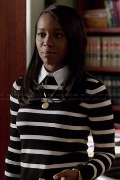Michaela's black and white striped sweater with collar on How to Get Away with Murder.  Outfit Details: http://wornontv.net/40447/ #HTGAWM