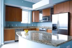 blue kitchen walls with brown cabinets blue kitchen walls with brown cabinets light blue kitchen walls with brown cabinets Modern L Shaped Kitchens, L Shaped Kitchen Designs, Painting Kitchen Cabinets, Kitchen Paint, Kitchen Walls, Layout Design, Küchen Design, Design Ideas, Brown Granite Countertops