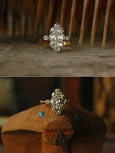 1920s European Cut Diamond Marquise Cluster Ring,