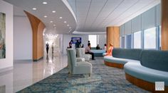 """A unique sculptural chandelier is intended to provide a """"guiding light"""" that's visible in the pedestrian bridge, lobby, and the patient floors. Credit: VOA."""