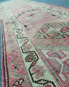 Old Kurdish herki runner rug, 2.52x11.72 feet, Geometric design rug runner, 3x12 Runner rug, Neutral vintage rug runner, Pale pink runner Hand Knotted Rugs, Hand Weaving, Big Area Rugs, Pale Pink, Runes, Rugs In Living Room, Rug Runner, Rug Size, Vintage Rugs