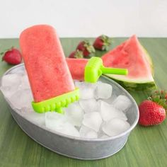 Strawberry Watermelon Popsicles... only 2 ingredients and perfectly sweet!